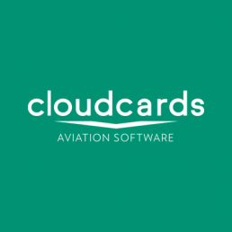cloudcards aviation software white logo on green background