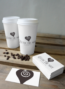 celtic heart branding on coffee cups and business cards